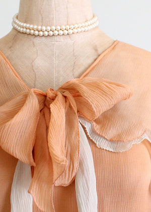 Vintage 1920s peach georgette dress