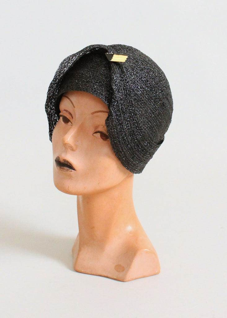 Vintage 1920s Black Straw Cloche Hat with Celluloid Accent