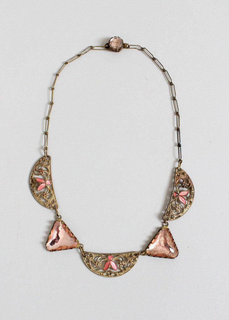 Vintage 1920s Pink Enamel Flapper Necklace