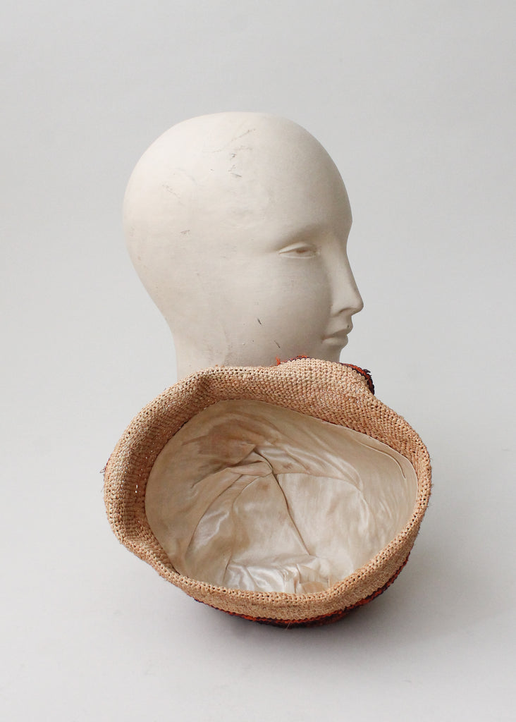 Vintage 1920s Straw Cloche Hat