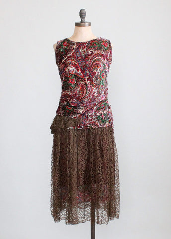 Vintage 1920s Paisley Velvet and Lace Flapper Dress