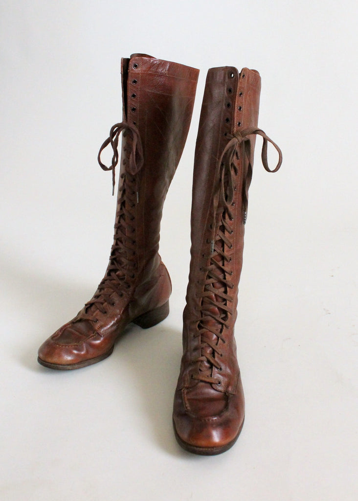 Vintage 1920s Brown Lace Up Safari Boots Raleigh Vintage
