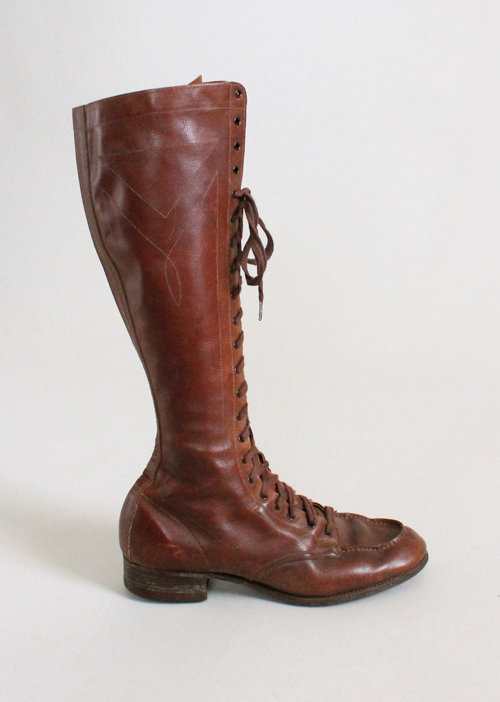 Vintage 1920s Brown Lace Up Safari Boots