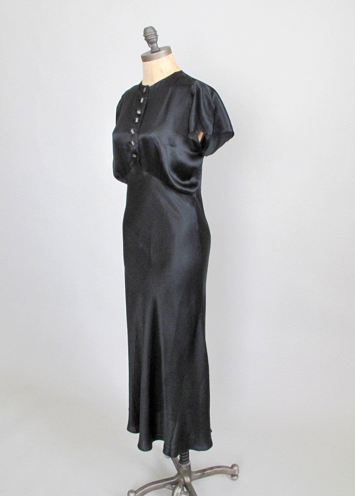 Vintage 1930s Black Liquid Satin Evening Dress