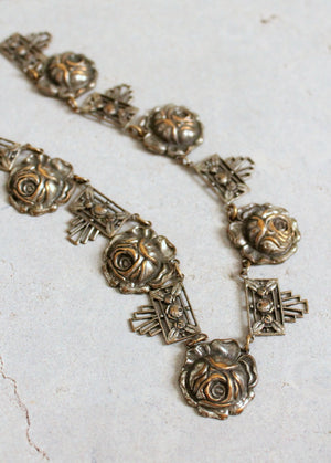 Vintage 1930s Art Deco Silver Rose Necklace