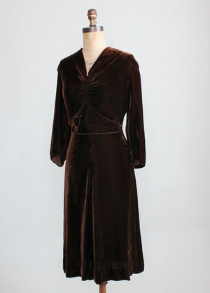 Vintage Late 1930s Classic Brown Velvet Dress