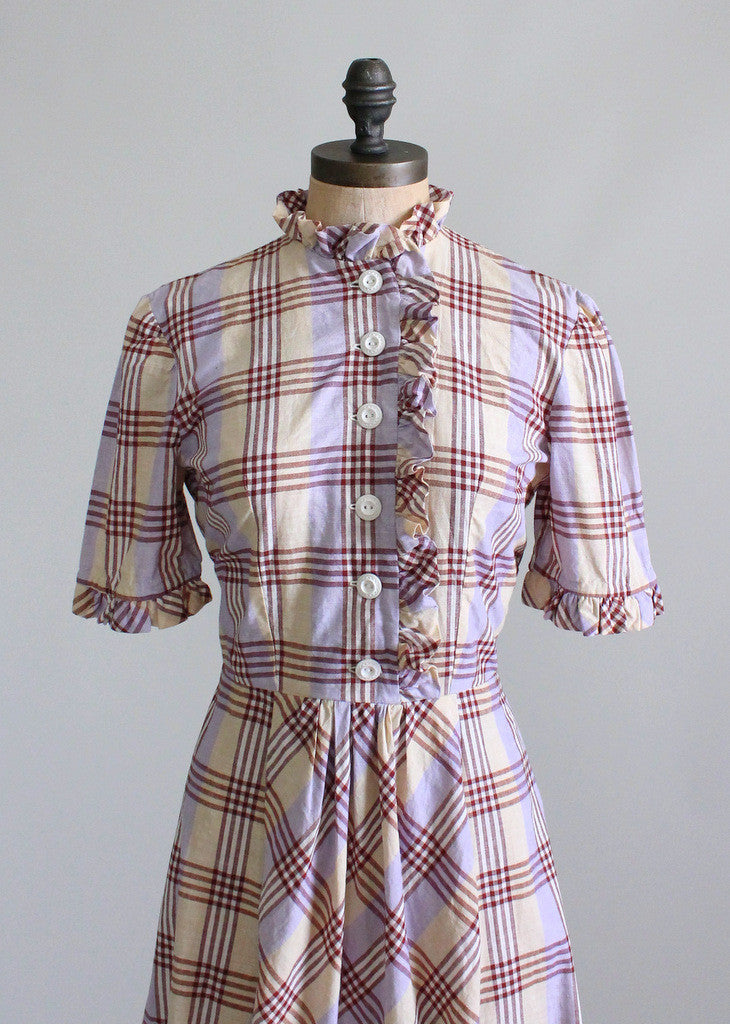 Vintage 1930s Plaid Ruffles Cotton Day Dress