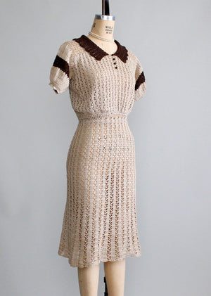 Vintage 1930s Knit Swing Dress