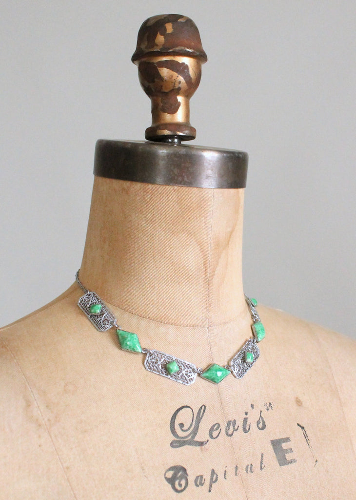 Vintage 1930s Green Glass and Silver Filigree Necklace