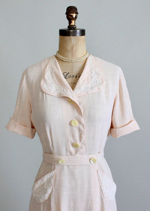 Vintage 1940s Summer Peach Linen Swing Dress