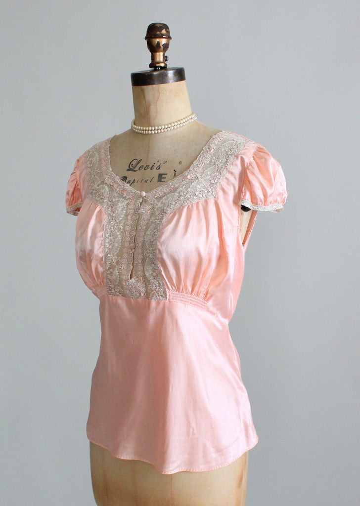 Vintage 1930s Peach Satin and Lace PJ Top