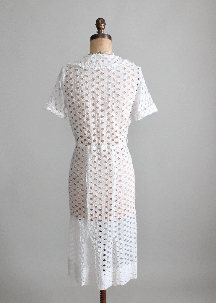 Vintage 1930s Dog Days White Cut Out Day Dress