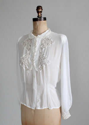 Vintag 1930s White Rayon Dress Blouse