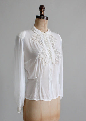 Vintage 1930s Rayon and Lace Shirt