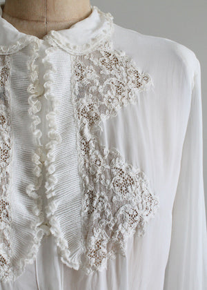 Vintage 1940s White Lace Blouse