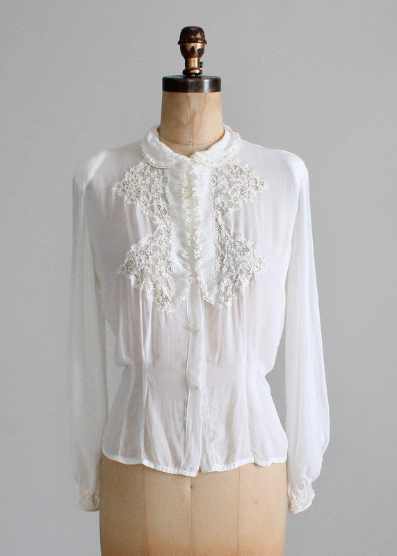 Vintage 1930s Rayon and Lace Blouse