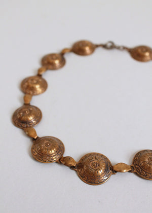 Vintage 1930s Greek Shield Brass Necklace