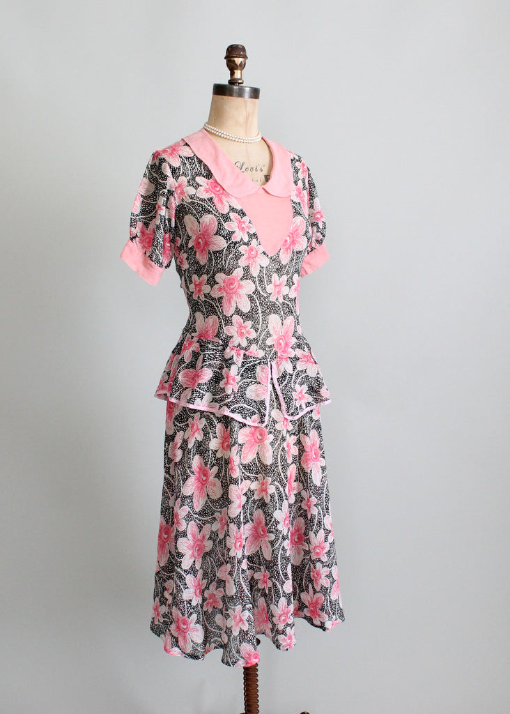 1930s floral cotton dress