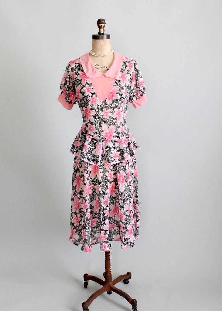 Vintage 1930s Pink and Black Floral Peplum Dress