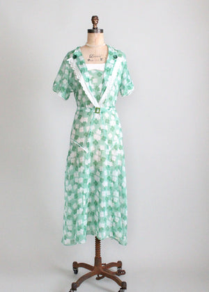 Vintage 1930s Green Floral Cotton Day Dress