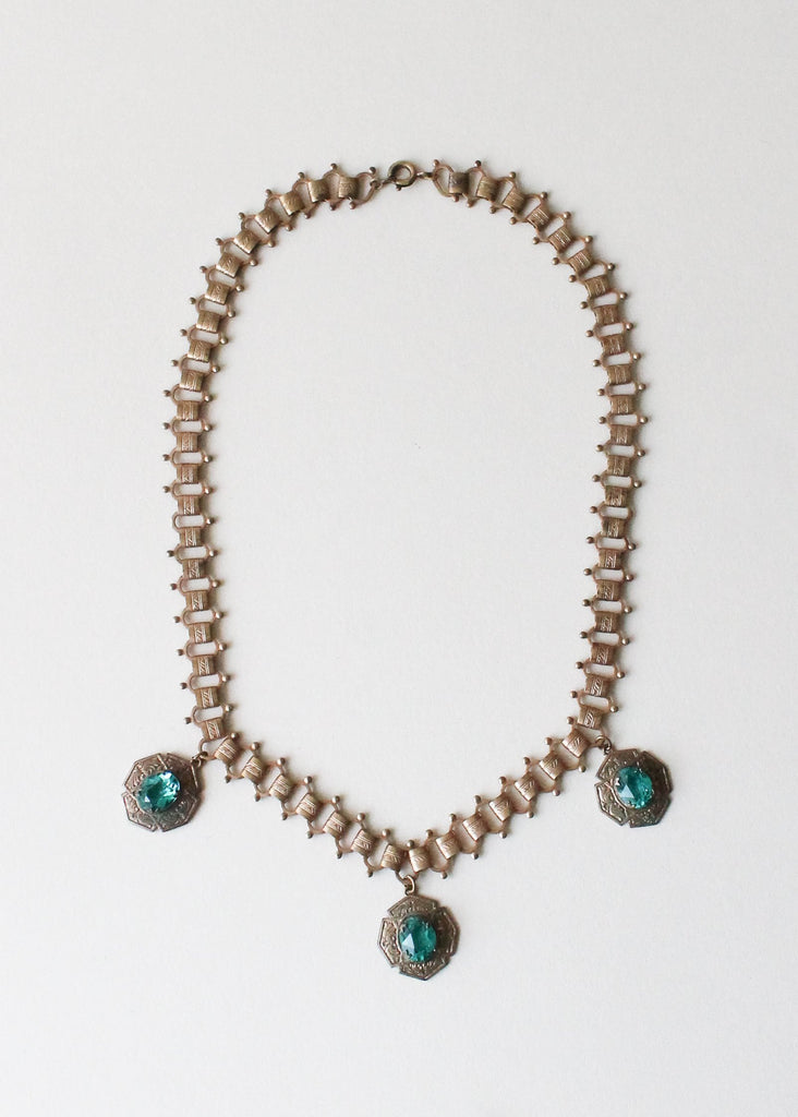 Vintage 1930s Green Glass and Brass Necklace