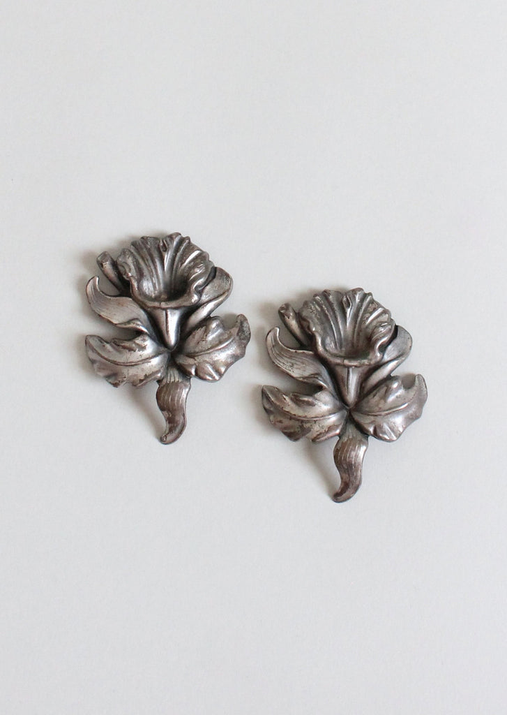 Vintage 1940s Large Silver Plate Flower Dress Clips