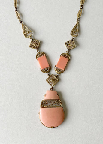Vintage 1930s Peach and Brass Necklace