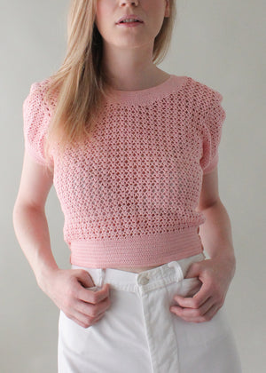 Vintage 1930s Pink Knit Sweater Top