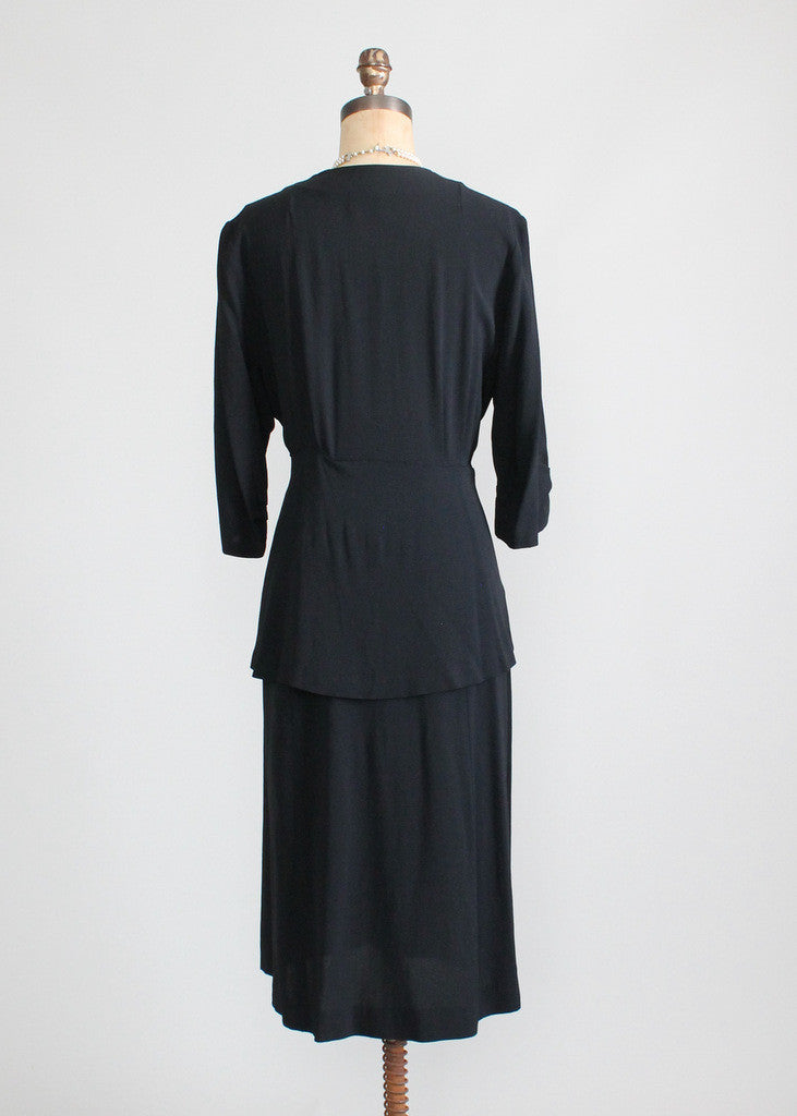 Vintage 1940s Noir Beaded Peplum Crepe Dress
