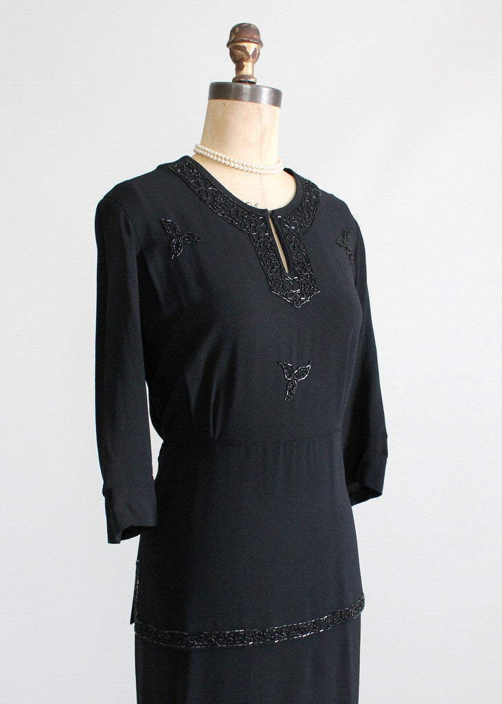 Vintage 1940s Black Crepe Peplum Dress