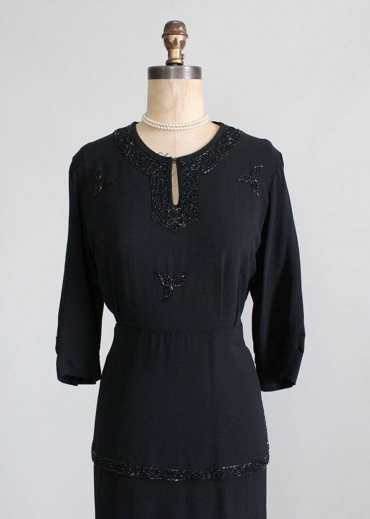 Vintage 1940s Beaded Peplum Dress