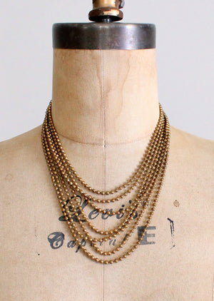 Vintage 1940s Brass Multi Strand Necklace