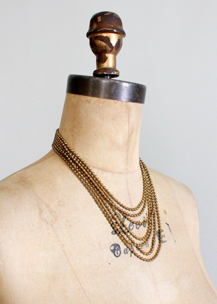 Vintage 1940s Brass Necklace