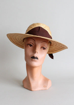 Vintage Early 1940s Dobbs Everyday Straw Hat