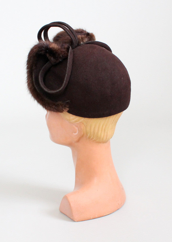 Vintage 1940s Brown Mink Scull Cap