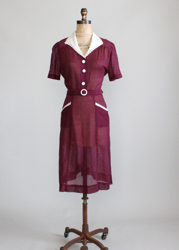 Vintage 1940s Cotton Day Dress