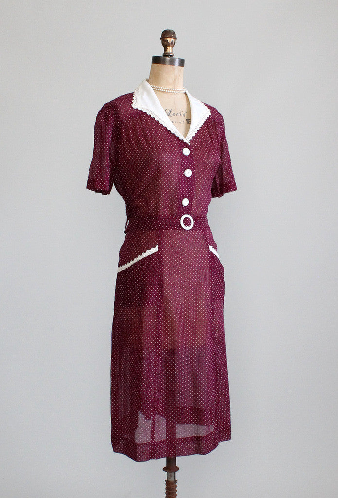 Vintage 1940s XLarge Plus Size Dress