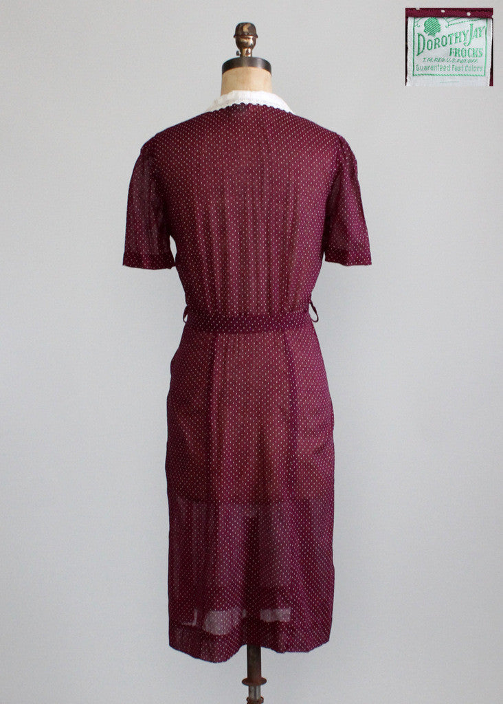 Vintage 1940s NOS Plum Swiss Dot Day Dress