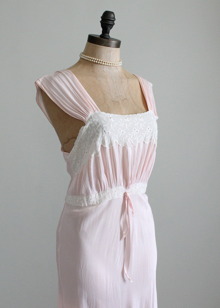 Vintage 1940s rayon and lace gown