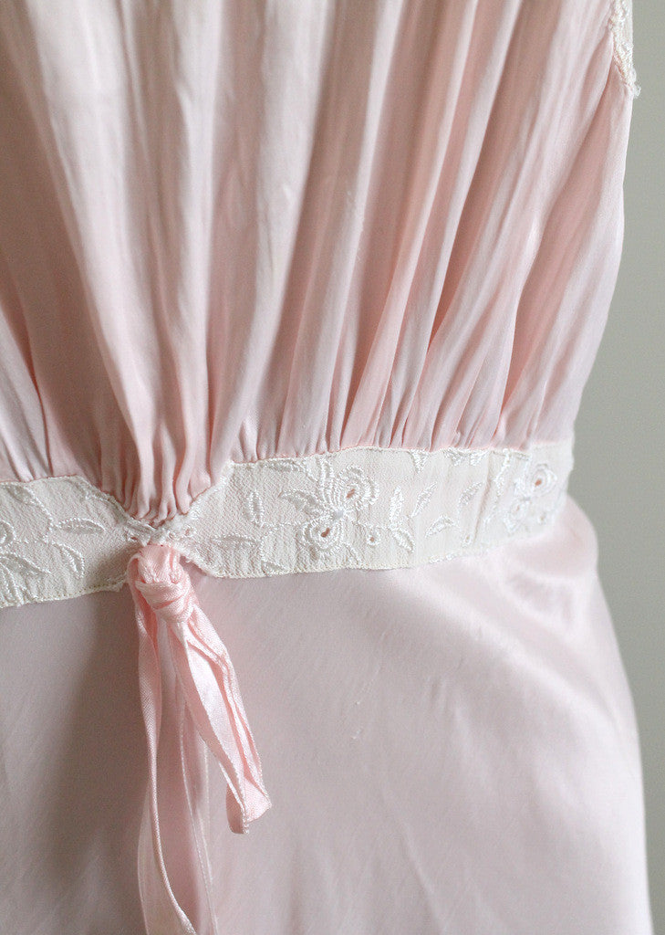 Vintage 1940s pink rayon and lace gown