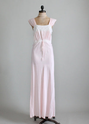 Vintage 1940s pink rayon nightgown