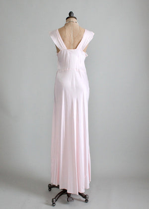 Vintage 1940s Pink Rayon and Lace Nightgown