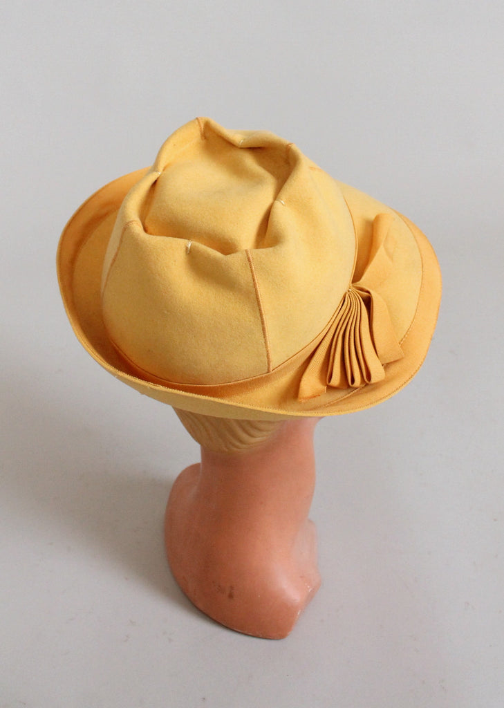 Vintage 1940s Yellow Fedora Hat