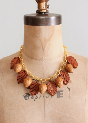 Vintage 1940s Novelty Wood and Celluloid Necklace