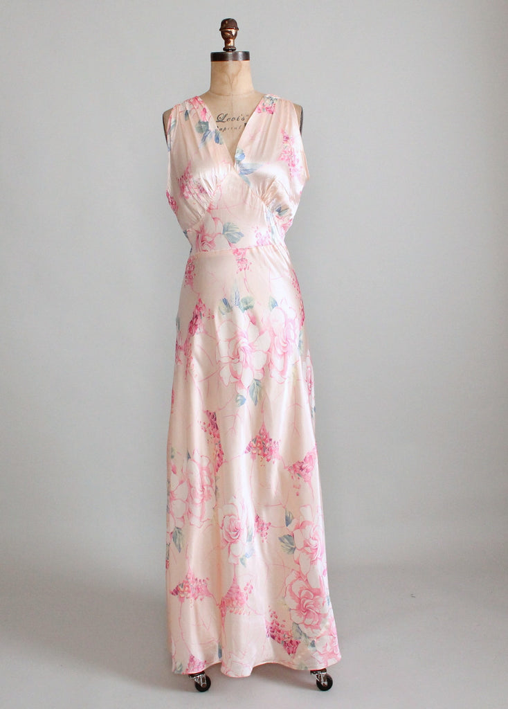 Vintage 1940s Palest Pink Floral Silk Nightgown