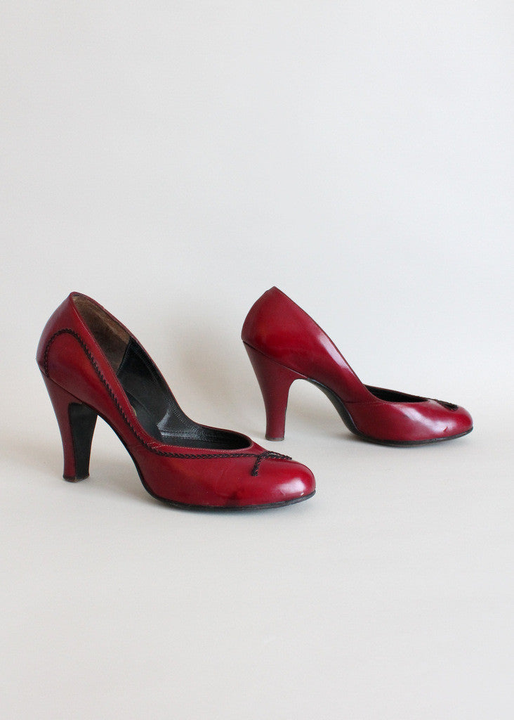 Vintage Early 1950s Cranberry Pumps Size 8.5