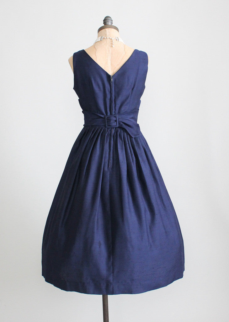 Vintage 1950s Navy Full Skirt Cummerbund Party Dress
