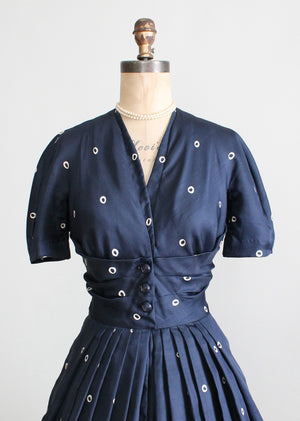 Vintage 1950s Navy Silk Dot Luncheon Dress