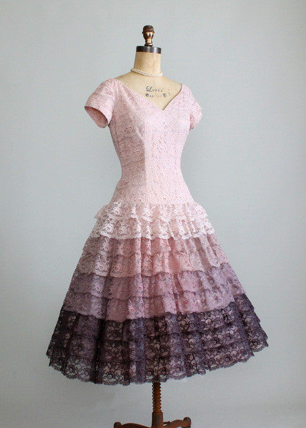 Vintage 1950s Ombre Lace Party Dress