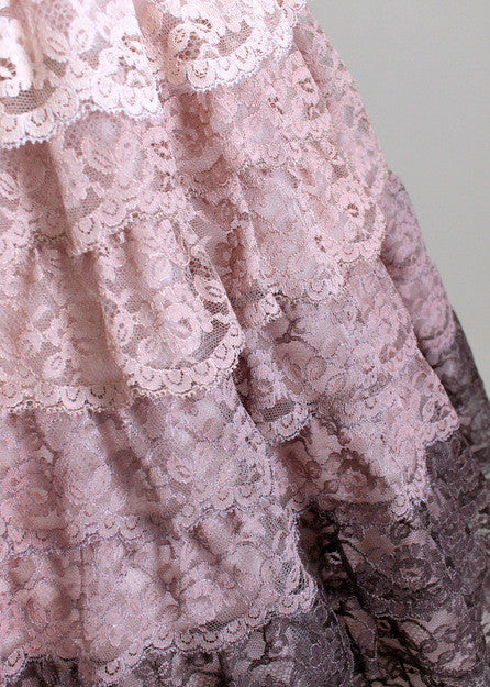 Vintage 50s Tiered Lace Cocktail Dress
